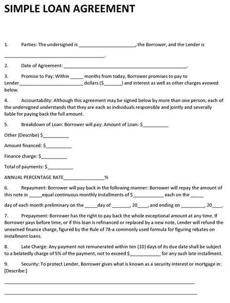 lending money agreement form managerbillybullock money