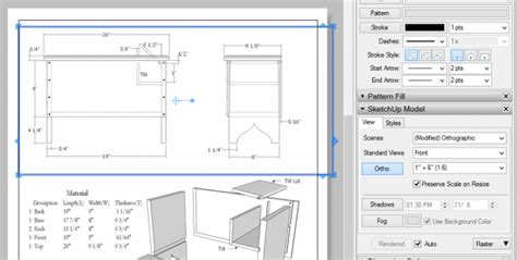 sketchup layout scale bar furniture drawing styles old vs new finewoodworking