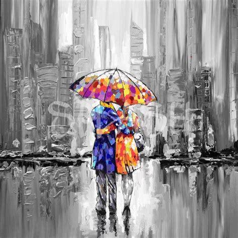 cuadros de cuadros figurativos abstractos pareja con paraguas cuadros