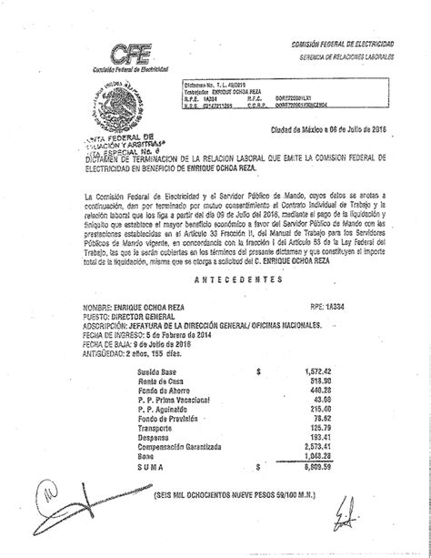 liquidacion renuncia voluntaria 2016 notizie24 la liquidaci 243 n de ochoa reza millonaria e indebida