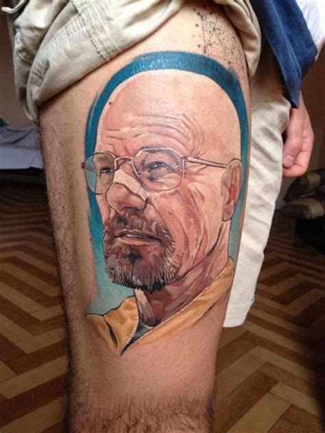 walter white tattoo portrait realistic thigh breaking bad walter white