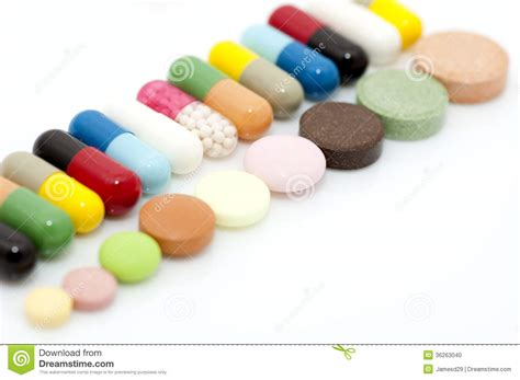 Stock United Healthcare Various Capsules And Tablets In Row Stock Photo Image