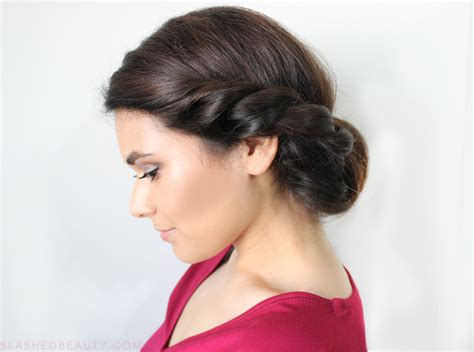 Date Night Hair: Twisted Low Roll Updo Tutorial   Slashed