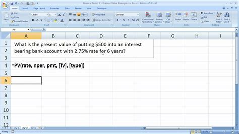 finance basics 6 present value exles in excel how