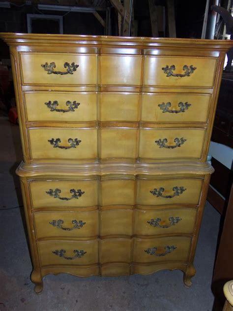 Boy Dresser For Sale by Black Provincial High Boy Dresser Set For Sale