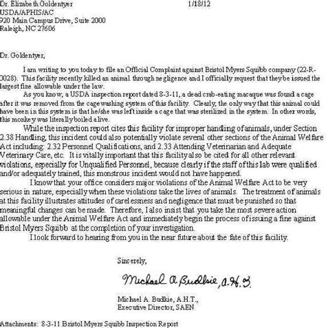 Complaint Letter For Piggery Bristol Myers Squibb Company Princeton Nj Letter Of Complaint To Usda 18 Jan 2011 New