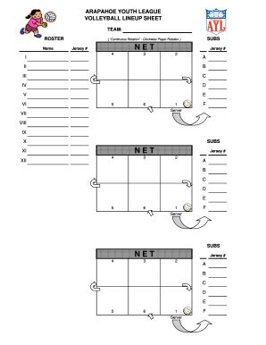 volleyball lineup sheet fill  printable fillable