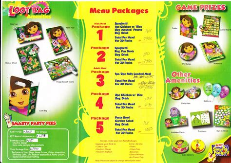 moms kiddie party link kfc smarty party package