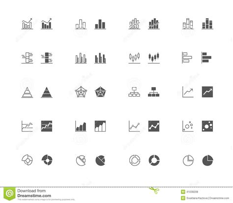 graph and diagram icon set stock vector illustration of graphics and chart outline and filled icon set stock