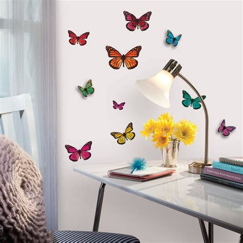 3d Butterfly Stickers For Walls roommates 3d butterfly wall stickers nursery decor