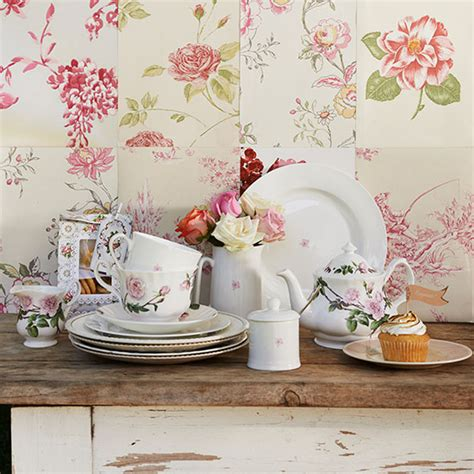 shabby chic kitchen with floral wallpaper garden