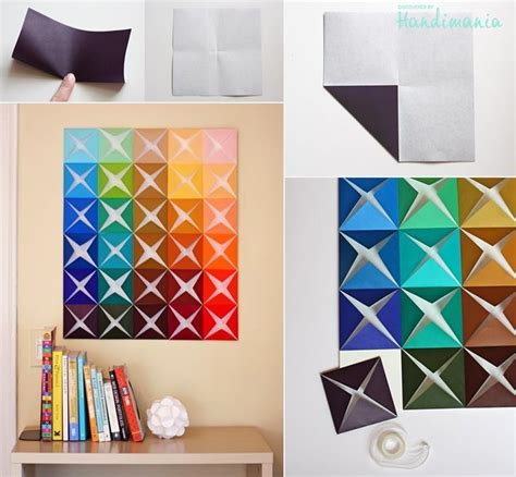 How To Make Paper Folding Crafts - how to make origami paper craft wall decoration step by