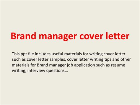 Brand Manager Cover Letter by Brand Manager Cover Letter
