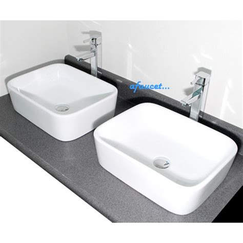 home white vessel rectangular white porcelain ceramic countertop bathroom
