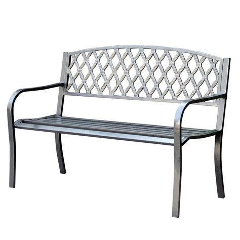 curved park bench jeco 50 in crossweave curved back steel park bench pb004