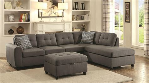 coaster stonenesse 500413 grey fabric sectional sofa