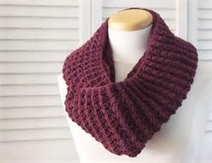 Knitted Infinity Cowl Pattern Knitting Pattern Scarf Infinity Cowl Wool Burgundy