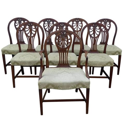 set of eight georgian style solid mahogany dining chairs