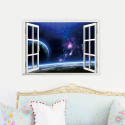 Wall Window Stickers Outer Space Earth 3d Window Wall Decal Sticker Stickers