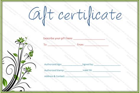 printable simple hair and beauty gift certificate
