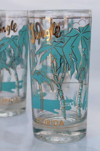 vintage souvenir glasses parrot jungle florida flamingo print  turquoise gold