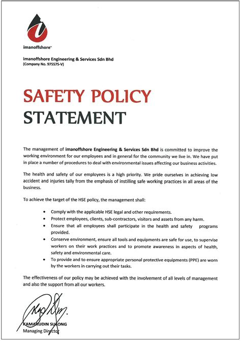 Construction Safety Policy Exle Bing Images Construction Safety Policy Template