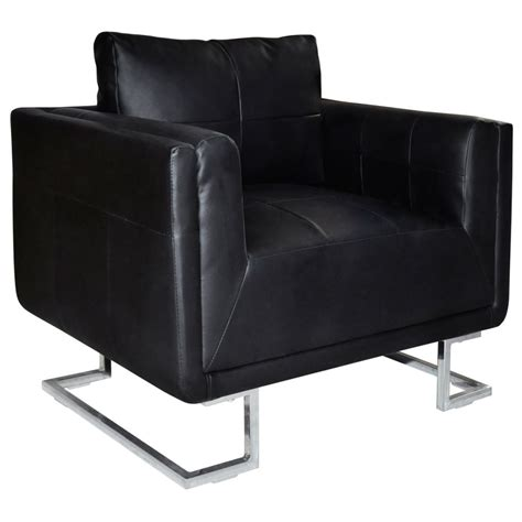 black armchair black luxury cube armchair with chrome feet vidaxl com