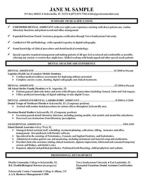 resume for dental assistant dental assistant resume exle