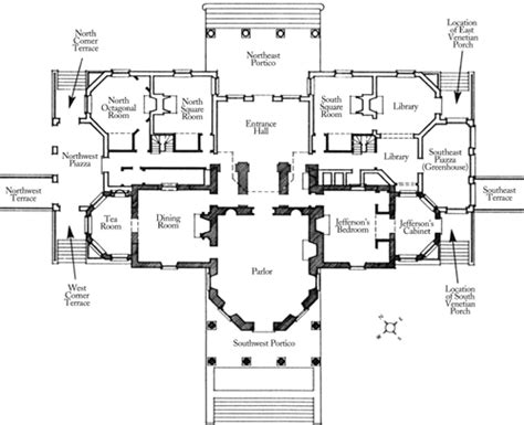 monticello floor plans floorplan of monticello s first floor thomas jefferson s