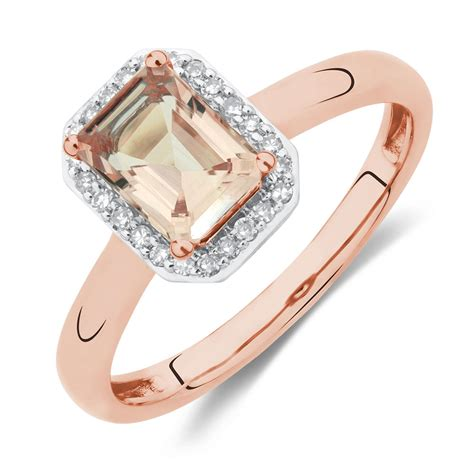 ring with morganite diamonds in 10ct gold