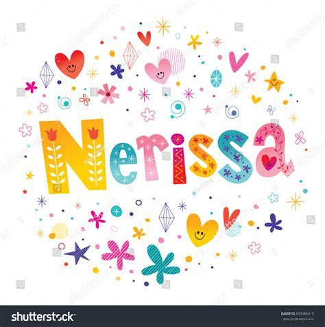 decorative design types nerissa girls name decorative lettering type stock vector