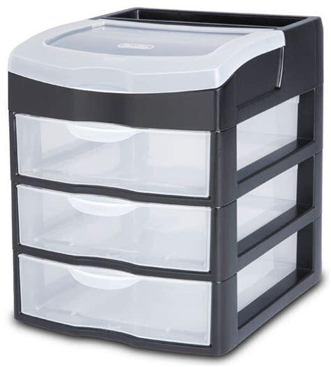 Desktop Drawer Unit by Sterilite 2063 3 Drawer Desktop Unit