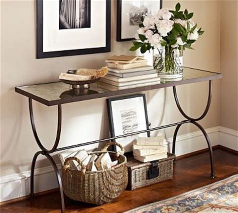 pottery barn willow coffee table willow antique mirror metal console table aged bronze