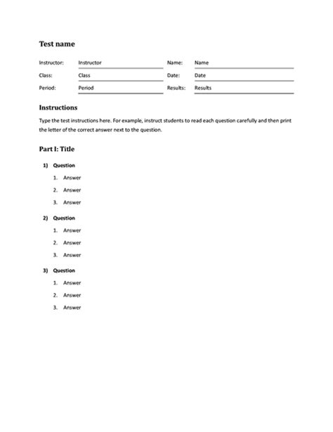 template for choice questions blank and general office