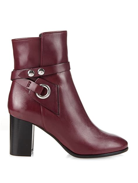 burgundy leather boots lyst marant ashes leather ankle boots in purple