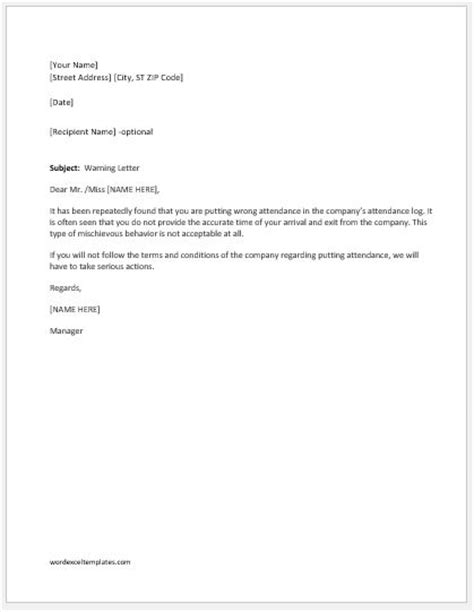 Warning Letter For Putting Wrong Attendance Word Excel Templates Attendance Letter Template