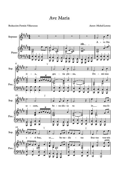 Ave Maria ave maria - Sheet music - Cantorion - Free sheet