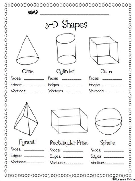printable math worksheets faces edges and vertices 3d shapes faces edges vertices ws math pinterest