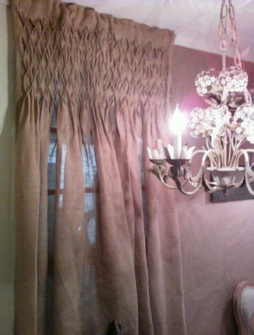 Smocked Burlap Curtains Curtain For Walls A Rooph