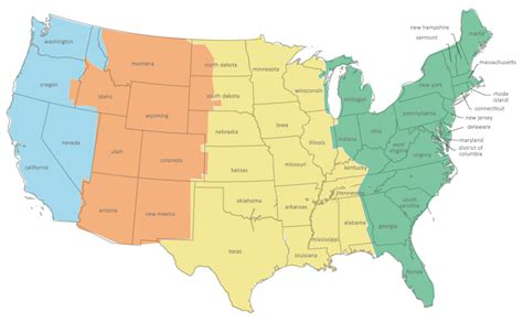 us map of states with time zones us time zone map