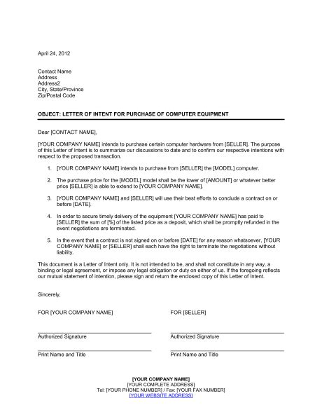 Sle Of Letter Of Intent To Purchase Products letter of intent for purchase of computer equipment