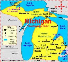 Michigan Us Map by Michigan Facts Map And State Symbols Enchantedlearning Com