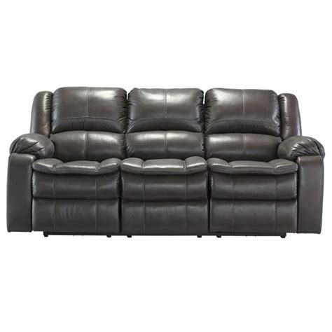 Ashley Long Knight Faux Leather Power Reclining Sofa In Faux Leather Reclining Sofa