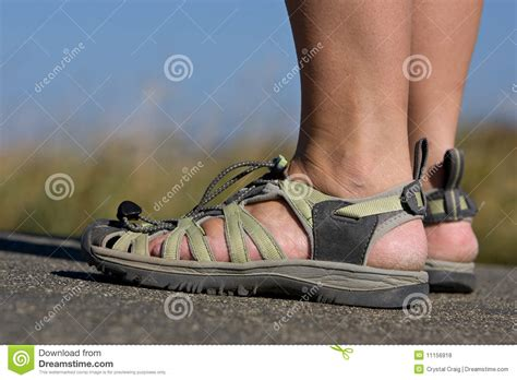 wearing sandals active wearing sports sandals royalty free
