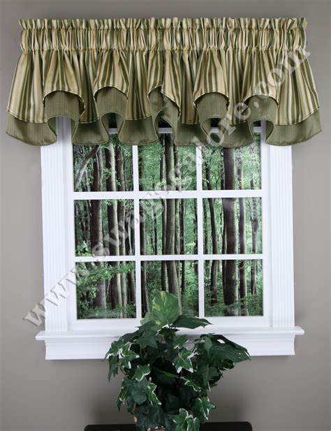 Swags Galore Valances Windsor Layered Scalloped Curtain Valance Blue
