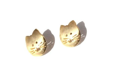 brushed gold cat earrings