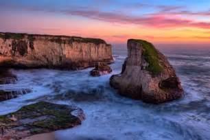 Sunset Wall Murals sunset seascape shark fin cove davenport santa cruz