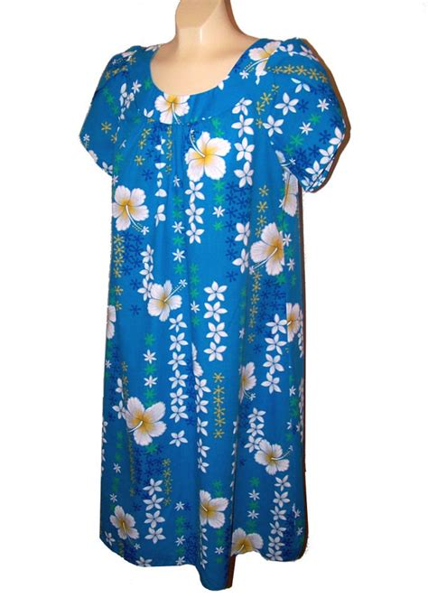 Dem Sweater Moomoo blue hawaii hawaiian moo moo dress hibiscus flowers royal