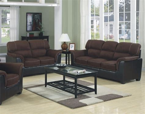 Living Rooms With Two Sofas Brand New Microfiber Two Tone Sofa Loveseat 2pc Sofa Set Living Room Furniture Ebay