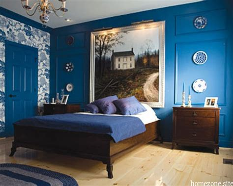 cool blue bedroom wall paint ideas with wood bed furniture and beautiful decorative wall as